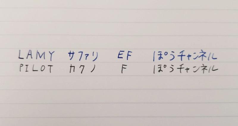 万年筆の文字の大きさを比較する