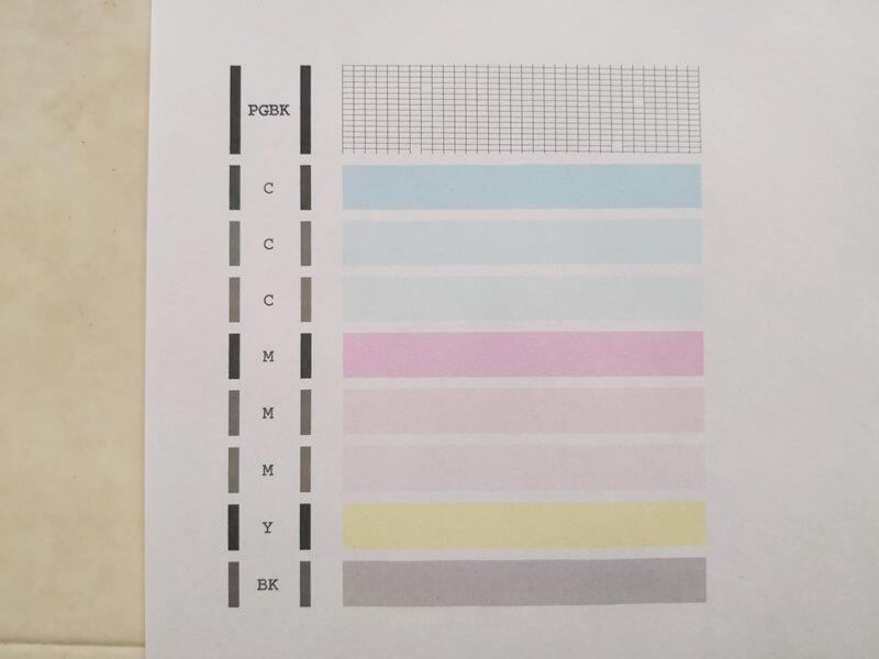 ノズルチェックのパターン印刷2